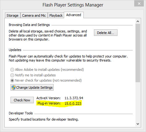 Flashplayer-version-dialog-box